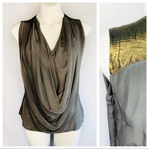 Aryn K Gray Silk Draped Metallic Gold Shoulder Top